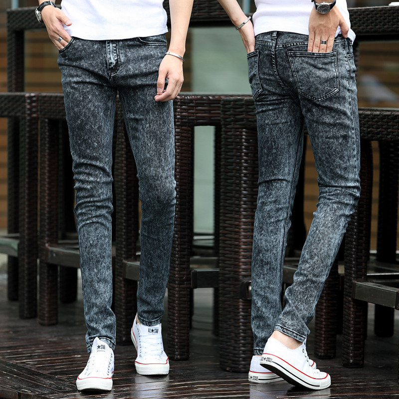 JJ Free shipping 2015 Spring new men's black skinny jeans Fashion slim fit snowflake cowboy feet pants mens pencil pants 27-42(China (Mainland))