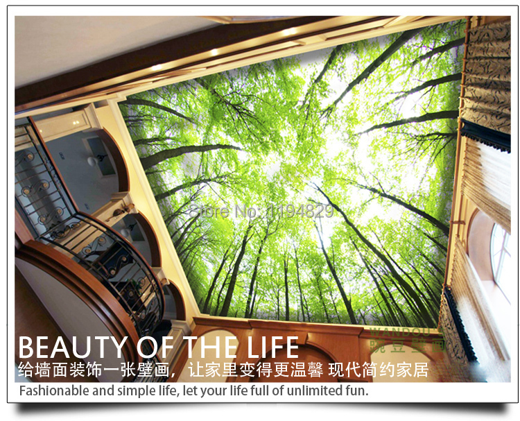 3d nature pure and fresh and green branches vines on the for 3d roof wallpaper