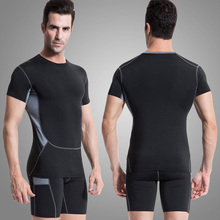 Sports men suit Gym Fitness Clothing Running Suit sport T shirt shorts Tights Fitness Training Sweatshirt Sport Sets10331014