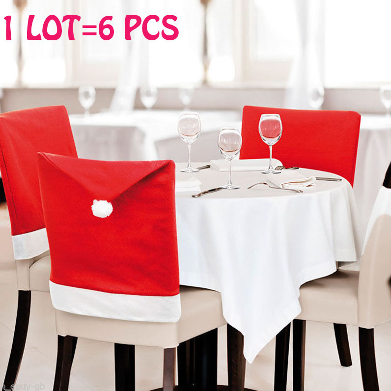 Wholesale 6PCS Christmas Decorations Indoor Supplies,christmas, New Year Kitchen Dinner Chairs Banquet Covers Cover,Navidad,Hot(China (Mainland))