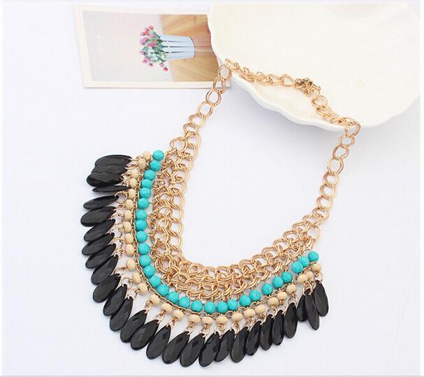 2015 Christmas gift Tassels Drop Vintage Bib statement necklace Fashion Jewelry free shipping