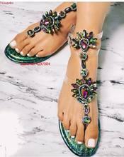 Açık PVC şeffaf Sandalet Kalın Topuklu Kadın Diz Yüksek Rhinestone Gladyatör Sandal Uzun Çizmeler bohemya kristali kadeh plaj ayakkabısı(China)