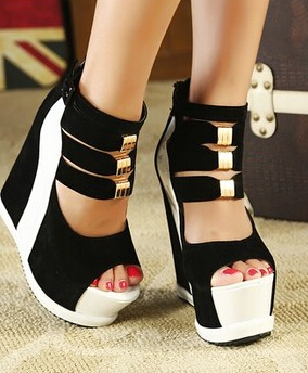 Hot 2014 new female models princess sandals hole spell color high-heeled shoes, elevator shoes 34-39