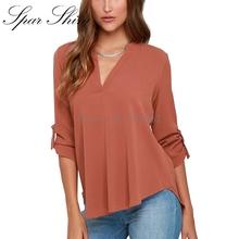 2016 New Fashion Women Tops Blouses Sexy Lady Long Sleeve blusas V-Neck Chiffon Blouse Shirt Plus Size 5XL Ropa Mujer blusa