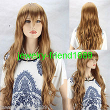 Wholesale& heat resistant LY free shipping>>>New wig Cosplay Fashion Gold Women's Curly Long Wig