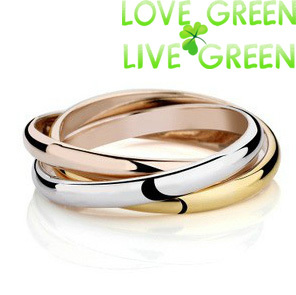 stainless steel lover couple Gifts yellow rose Gold silver Color 3 Circles Ring promotion fashion jewelry wedding 83711(China (Mainland))