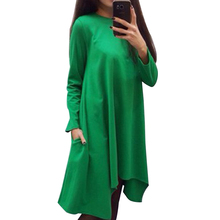 Candy-color Winter Autumn Women Dress O-neck Long Sleeve Solid Color Loose Casual Dresses Vestidos (don't belt ) 6638(China (Mainland))