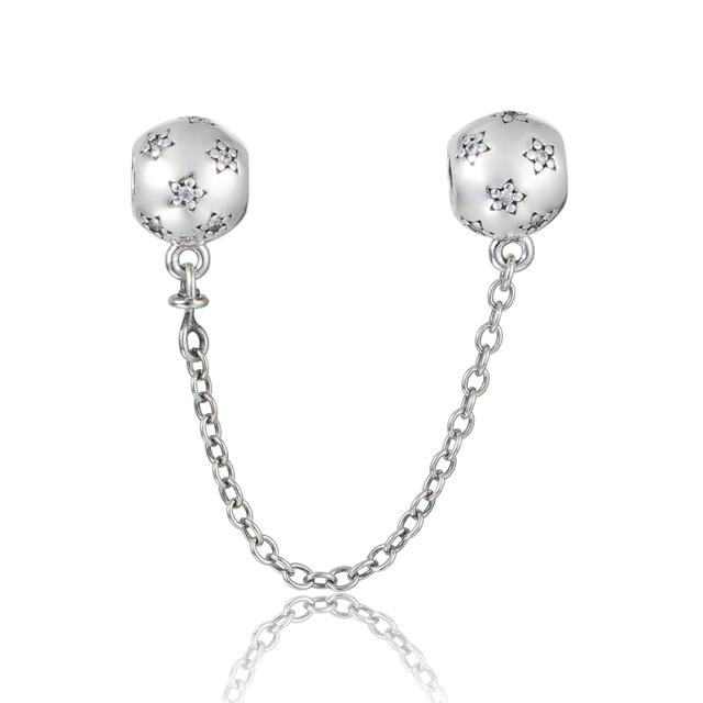 Осень стиль серебряные ювелирные изделия 925 звезда цепи безопасности бусины с камнями Fit пандора оригинальный подвески браслеты DIY ювелирных украшений