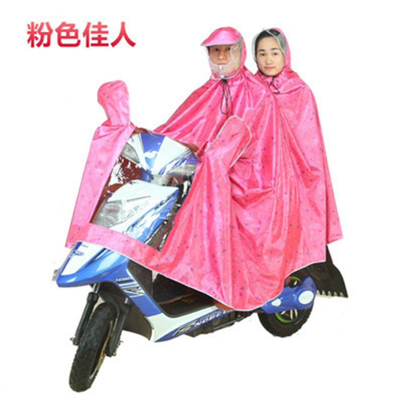 Battery Car Raincoat Large Size Double Hooded Rian Poncho E-Bike Motorcycle Raincoat Rain Coat Cape Reflective Print(China (Mainland))