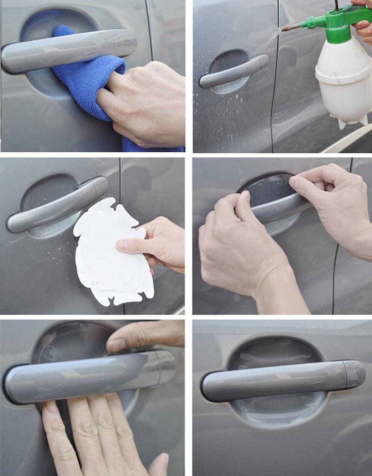 Car sticker door bowl sticker car door handle protection film 4 PCS universal free shipping
