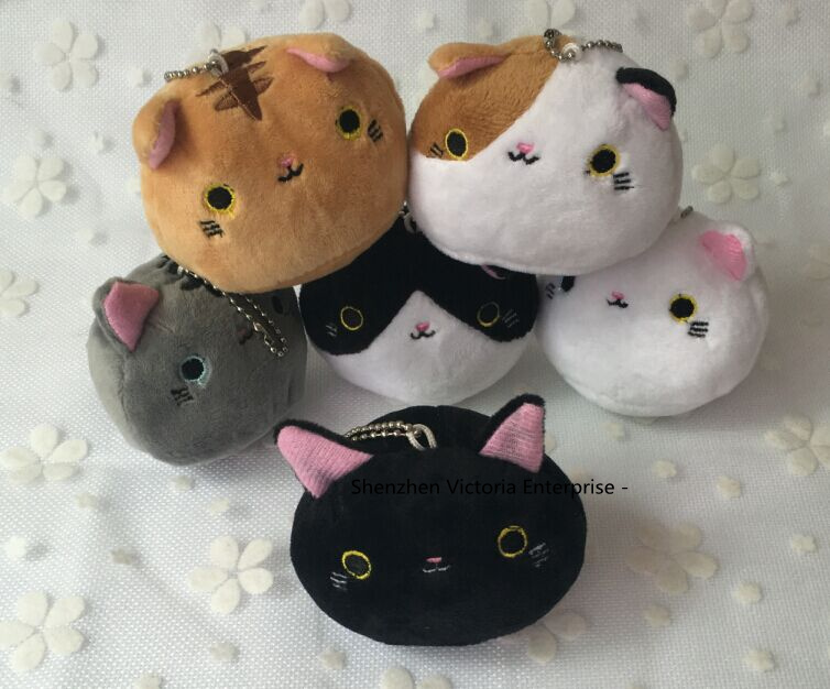 NEW 6 Designs Cats 7CM Plush Stuffed TOY doll , Kid's keychain Cat Toy Pendant Gift plush TOY DOLL(China (Mainland))