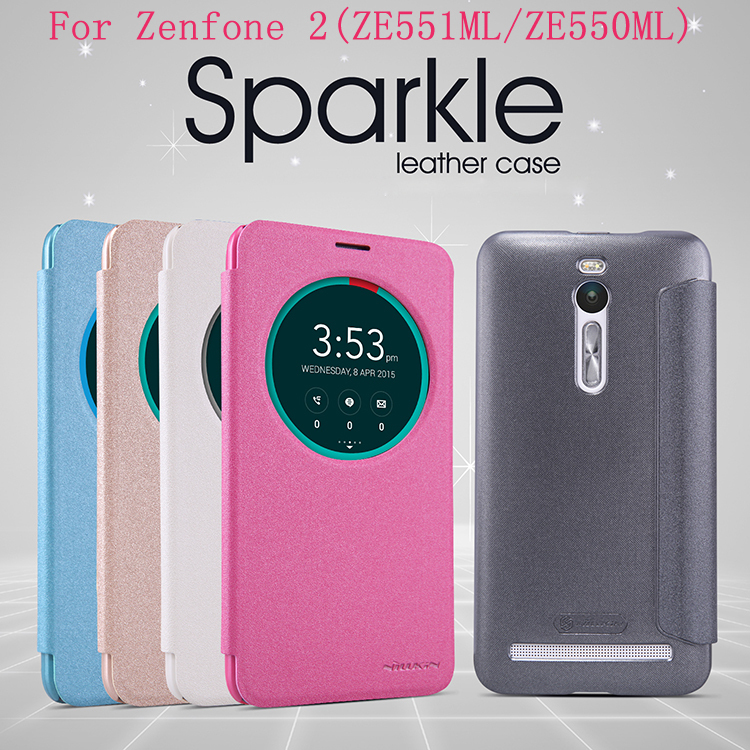 Asus Zenfone 2 ZE551ML case Asus Zenfone 2 ZE550ML Nillkin Sparkle leather case cover window design with wake/sleep function(China (Mainland))