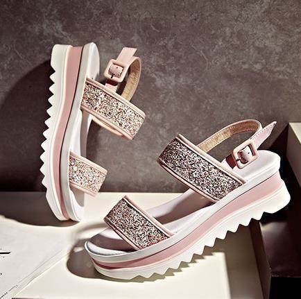 New 2015 summer style shoes woman 5.5cm high heel platform sandals wedges Genuine Leather Gladiator Sandals women Luxury brand