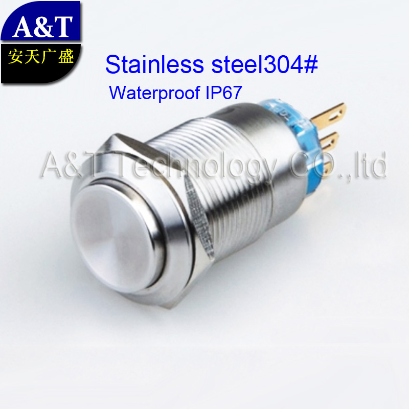 Factory Wholesale price 19mm Momentary 1NO 1NC ,Industrial metal waterproof anti vandal stainless steel push button reset switch(China (Mainland))