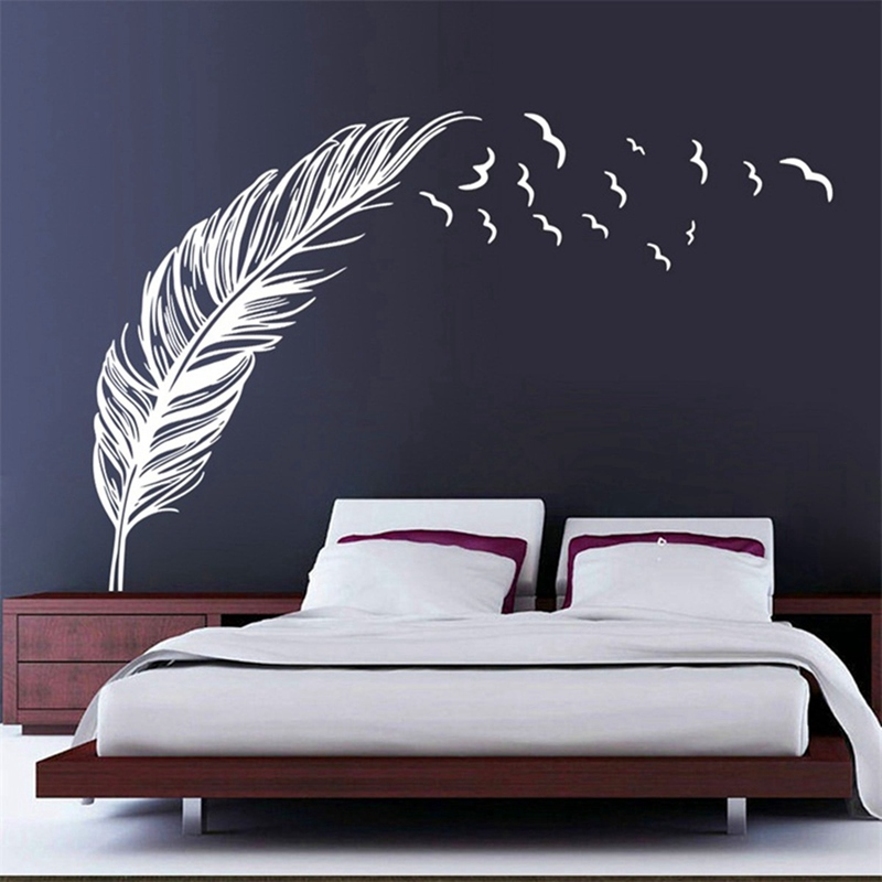 Best Price New Fashion Wall Sticker Vinyl Birds Flying Feather Bedroom Home Decal Mural Art Decor 6 Colors(China (Mainland))