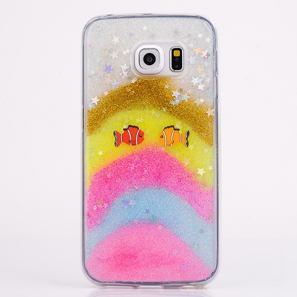Fashion butterfly Cell Phone Case ultra-thin Transparent soft back case For Samsung Galaxy S6 case star fish glitter SJK-211(China (Mainland))