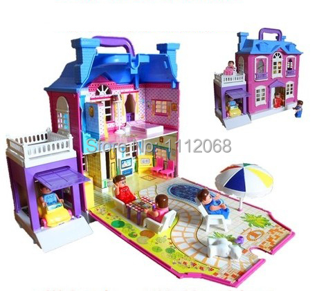 Doll Set Furniture big gift box play house toys luxury Foldable hand Villa doll house brinquedos casinha de boneca free shipping(China (Mainland))