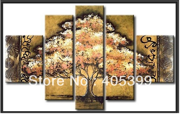 Free Shipping ,Modern Oil Painting On Canvas Wall Art ,Home Decoration 5pc Golden Leaves   JYJZ039