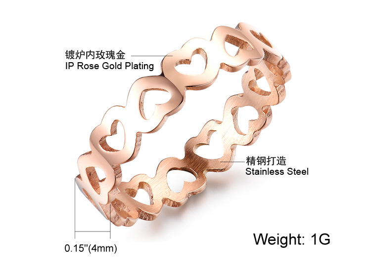Hollow heart Fashion stainless steel woman rings titanium steel plated 18K rose gold rings jewelryGifts Anti- allergy never fade(China (Mainland))