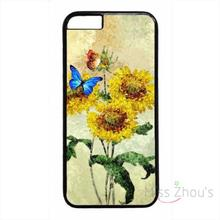 For iphone 4/4s 5/5s 5c SE 6/6s plus ipod touch 4/5/6 back skins mobile cellphone cases cover Sunflowers Art Flower