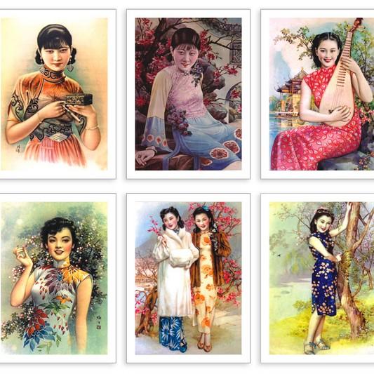 Cheongsam красоты девушки календарь плакат в Шанхае ностальгических китайский винтажный стиль открытки открытки 32pcs/много поздравительных открыток