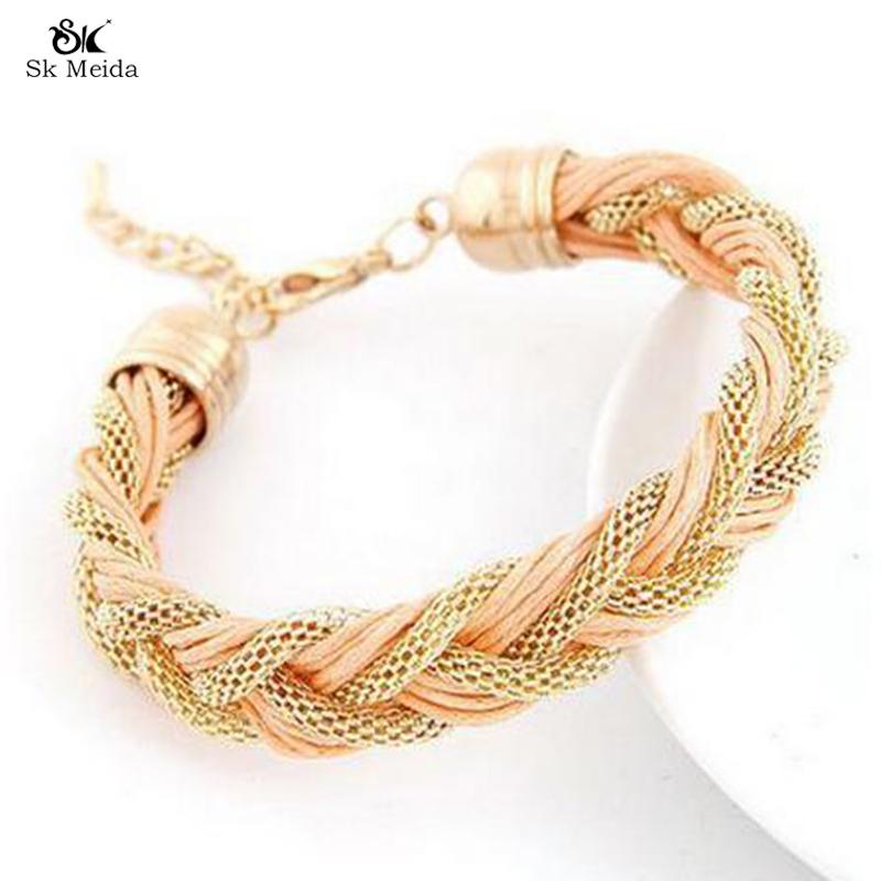 19*13mm Fashion Woven Hollow Charm Bracelet Women Handmade Bracelets Metal And Leather Mix Jewelry Wholesale ZB-20(China (Mainland))