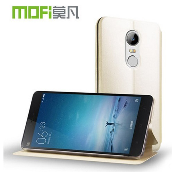 MOFI Original leather Series Luxury Slim Embedded manganese Stand leather case For XIAOMI MIUI Red Mi Note 3 + free shipping(China (Mainland))
