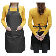 Summer Shop! Unisex 2 Pocket Black Kitchen Apron Bib, One Size in Medium(China (Mainland))