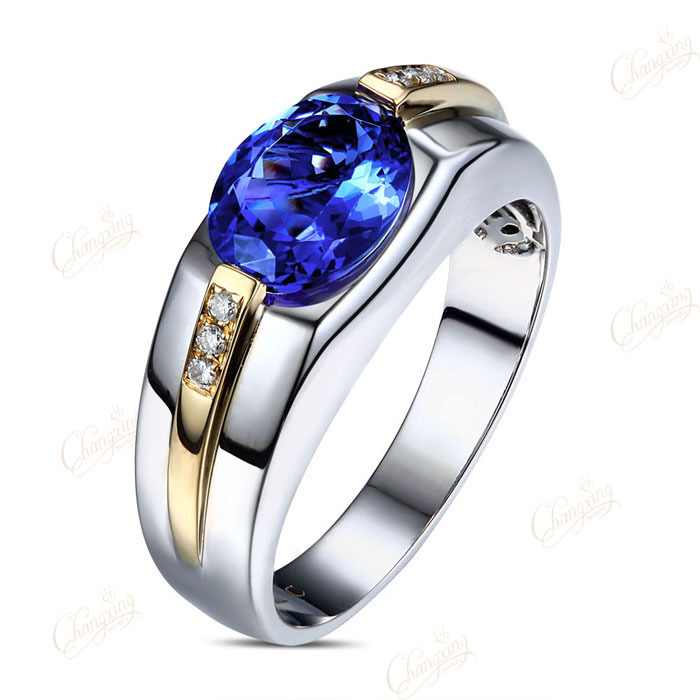 Tanzanite men engagement ring reviews online shopping for Mens wedding ring with blue diamonds