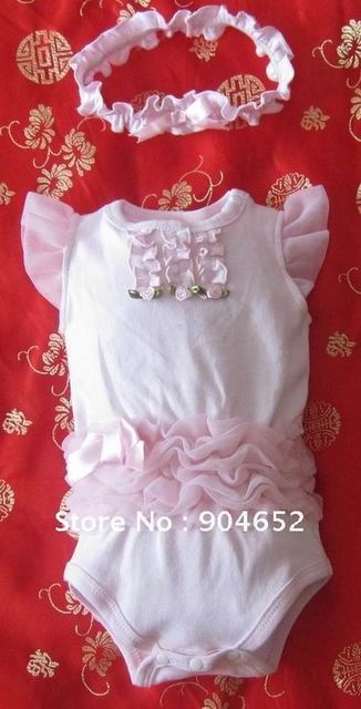 PROMOTION wholesale 2012 baby romper girls tutu petti 2pc set headband and stain rompers pink princess jumpsuit free shipping