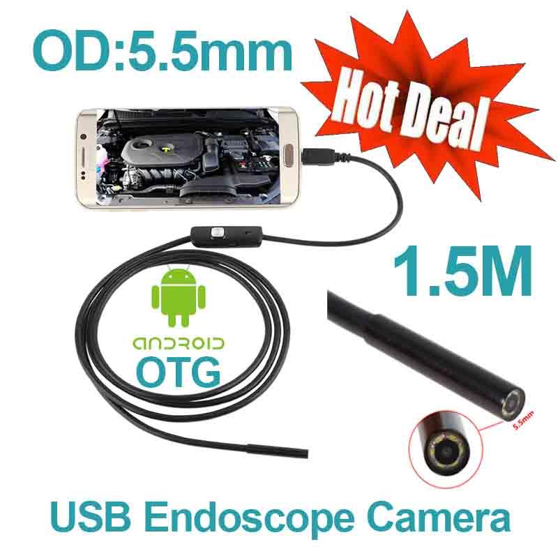 Android Phone OTG USB Camera 5.5mm OD 1.5m Cable Smart Android Phone Endoscope Inspection Snake Tube Borescope 6pcs LED Camera(China (Mainland))
