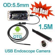 Android Phone OTG USB Camera 5.5mm OD 1.5m Cable Smart Android Phone Endoscope Inspection Snake Tube Borescope 6pcs LED Camera