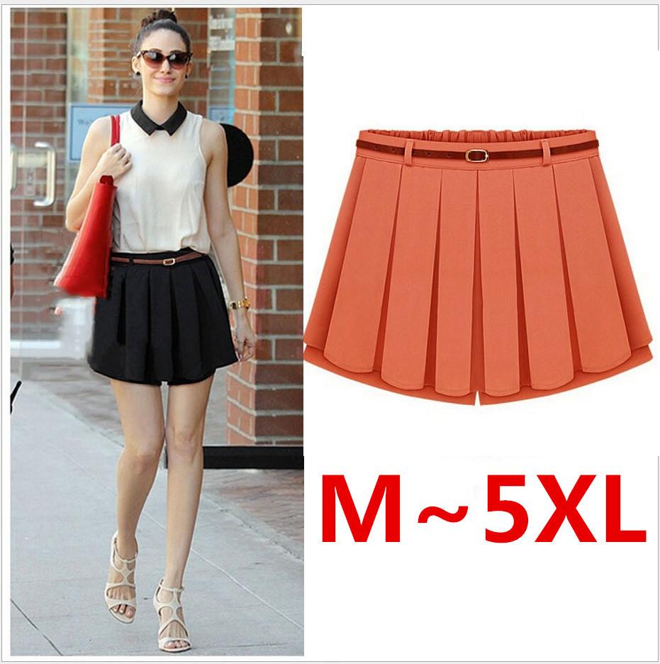 belt free tropical high waist pleated skirts womens
