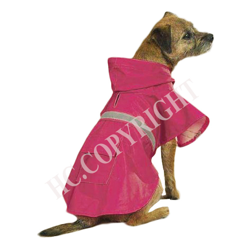 L Size Rose Red Color Pet Dog Hoodies Raincoat Waterproof Reflective Slicker Dog Casual Jacket Clothes Rain Coat For Dogs(China (Mainland))