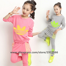 New 2015 Spring Autumn Brand Europe Style The Leisure Suits Girl Long Sleeve Stripe T-shirt + Leggings Children Clothes(China (Mainland))