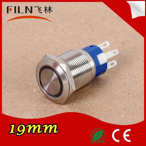filn 19mm Stainless Steel 12V Ring LED Momentary Push Button Switch - Wenzhou Xinglin Electrical Fittings Factory store