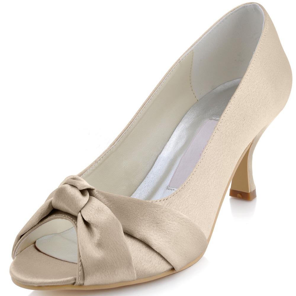 Minitoo Womens Peep Toe Kitten Heel Knot Bridal Wedding Champagne Satin Sandals Shoes In Women