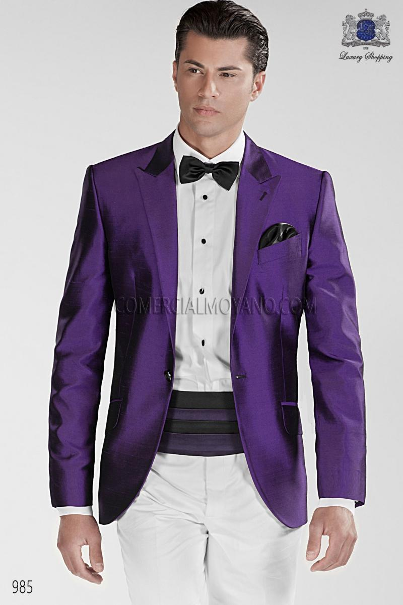 Classic Style One Button Purple Groom Tuxedos Groomsmen Men's Wedding Prom Suits Custom Made (Jacket+Pants+Girdle+Tie) K:386