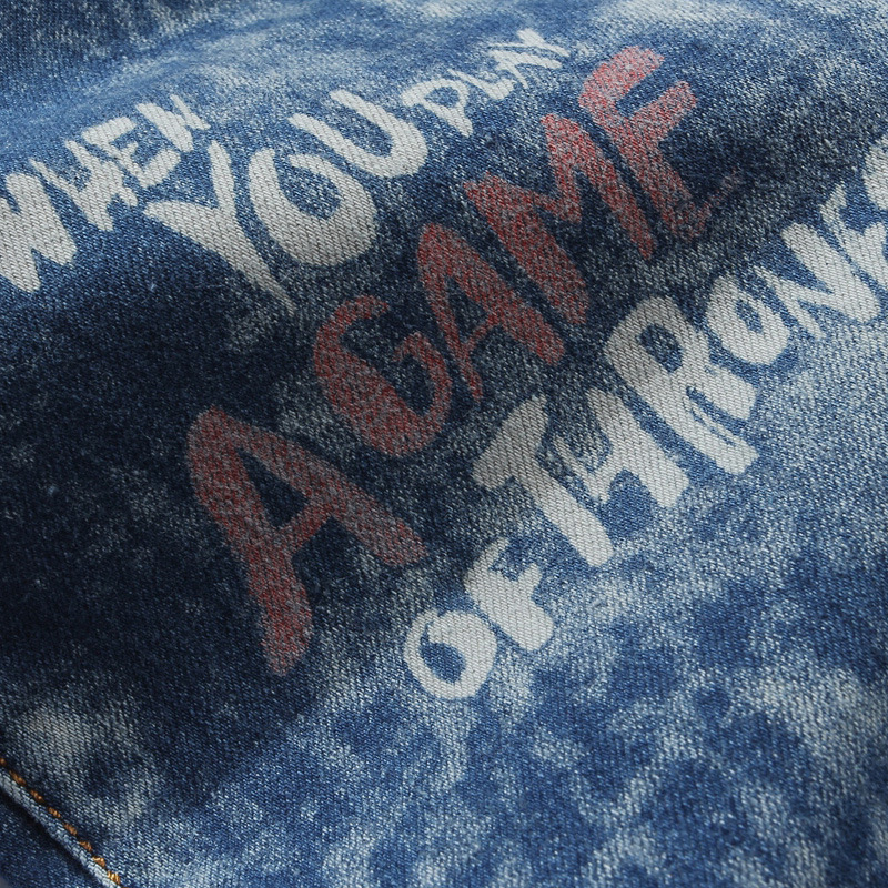 Скидки на Поддельные дизайнер одежды улица Тонкий Ноги брюки Мужской личности печати Мужские джинсы pantalones вакеро hombre мужчины G249