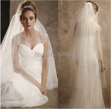 2015 New Elegant Bridal Veils with Cut Edge 2 Layers Soft Tulle White/Ivory Wedding Accessories Stock Wedding Veil With Comb(China (Mainland))