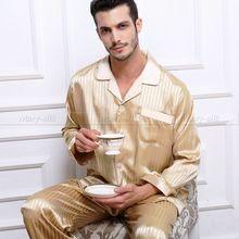 Mens Silk Satin Pajamas Set  Pajama Pyjamas  Sleepwear Set  Loungewear  S,M,L,XL,2XL,3XL,4XL  Plus  Long Sleeves(China (Mainland))