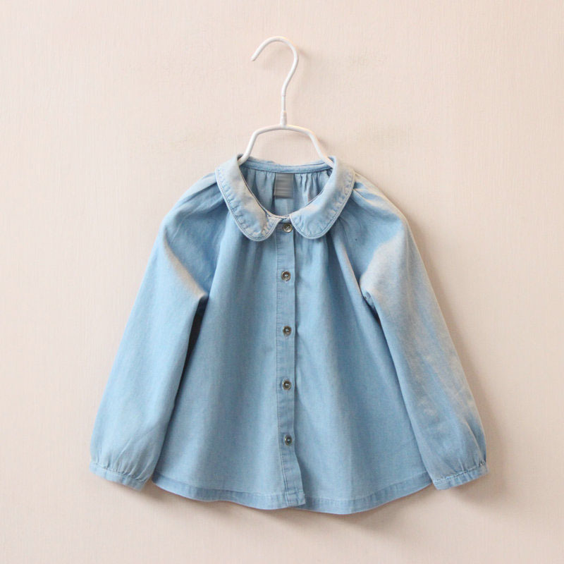 2016 spring new childrens clothing girls collar loose denim shirt childrens clothing wholesale<br><br>Aliexpress