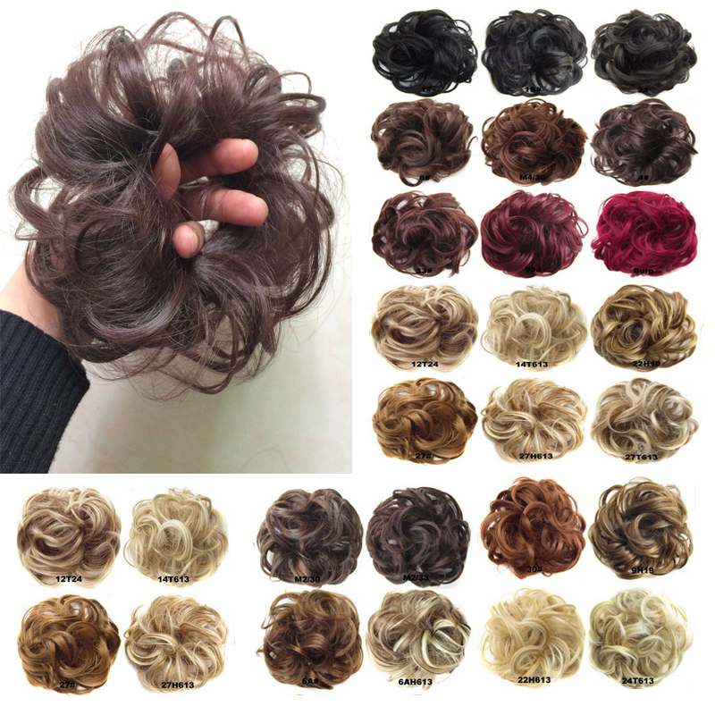 New Arrive Women Synthetic Flexible Scrunchie Wrap For Wave Curly Hair Buns Chignon Extensions Black Blonde Brown 25 Colors 30g(China (Mainland))