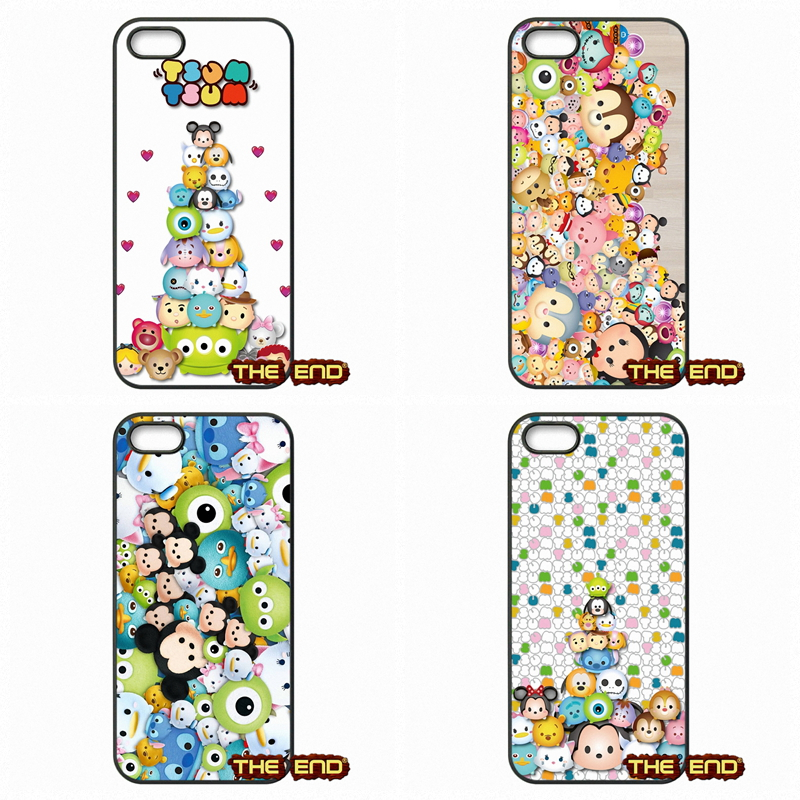 For Apple iPod Touch 4 5 6 iPhone 4 4S 5 5C SE 6 6S Plus 4.7 5.5 Pretty Cute tsum tsum Hard Black Phone Skin Case Cover(China (Mainland))