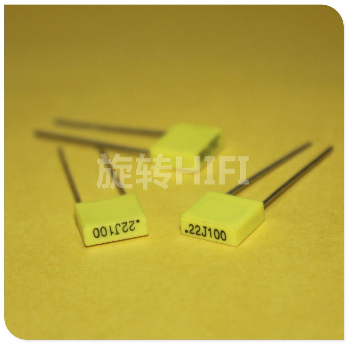 20pcs Italy AV 224/100v 220NF 0.22UF MKT R82 new deep yellow film coupling capacitors p5 free shipping(China (Mainland))