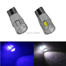 2PC/lot Free shipping Car Auto LED T10 194 W5W Canbus 6 smd 5630 cree LED Light Bulb No error car led light parking