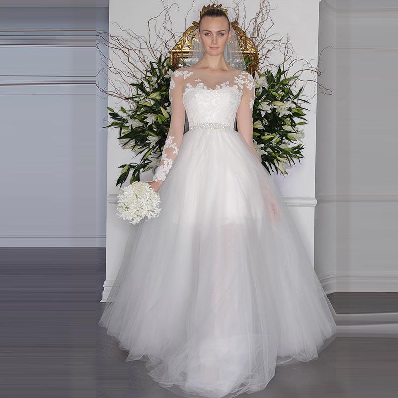 На Заказ Платье De Noiva Robe de mariage совок 2017 Новый весной 2 в 1 Свадебные Платья со Съемной Поезд С Длинным Рукавом