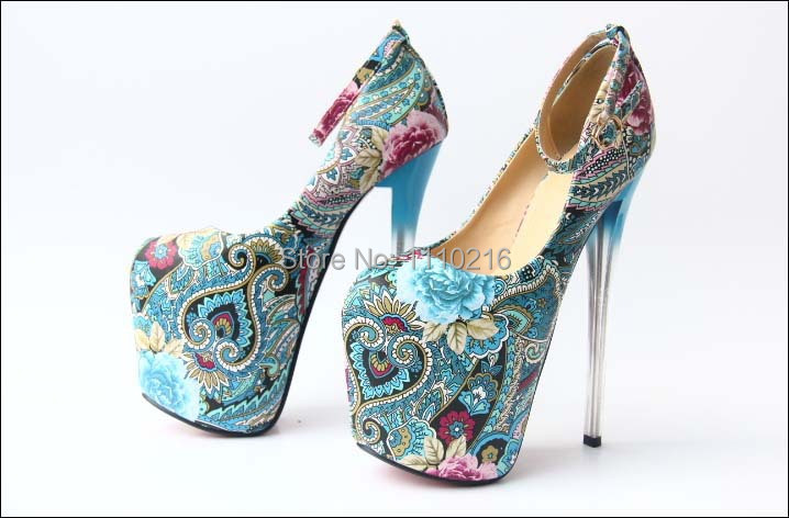 2016 sexy strappy women platform pumps stiletto ultra high heels ankle strap buckle print floral party shoes large size 35-43
