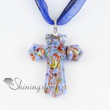 cross Christan glitter lampwork murano Italian venetian handmade glass necklaces with pendants high fashion jewellery
