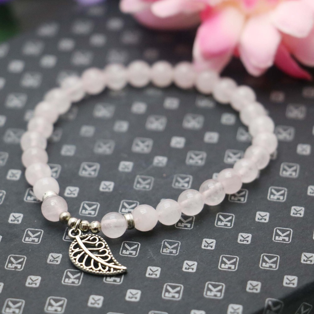 6mm Natural stone Pink CryStal beads Opal Chalcedony Bracelet hand chain for women girls Pendant Lucky Leaf Jewelry Design(China (Mainland))